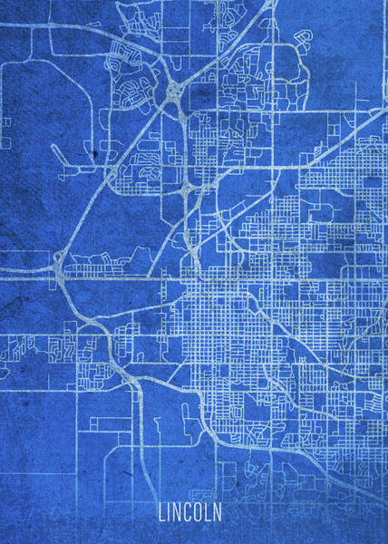 Wall Art - Mixed Media - Lincoln Nebraska City Street Map Blueprints by Design Turnpike