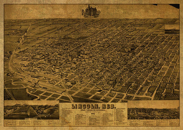 Wall Art - Mixed Media - Lincoln Nebraska Progress Vintage City Street Map 1889 by Design Turnpike
