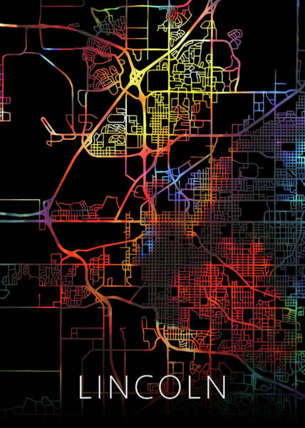 Wall Art - Mixed Media - Lincoln Nebraska Watercolor City Street Map Dark Mode by Design Turnpike