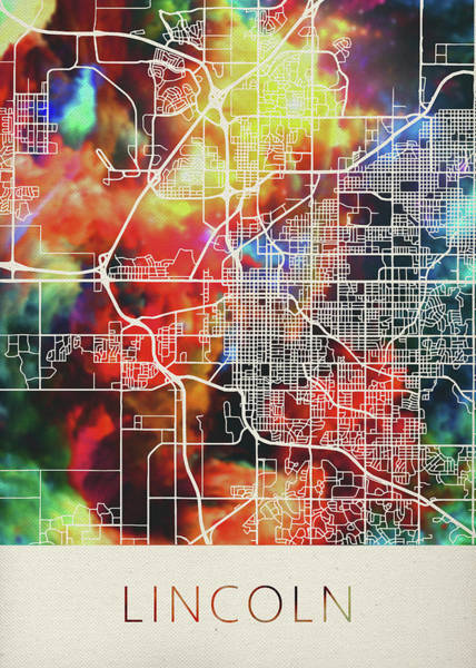 Wall Art - Mixed Media - Lincoln Nebraska Watercolor City Street Map by Design Turnpike