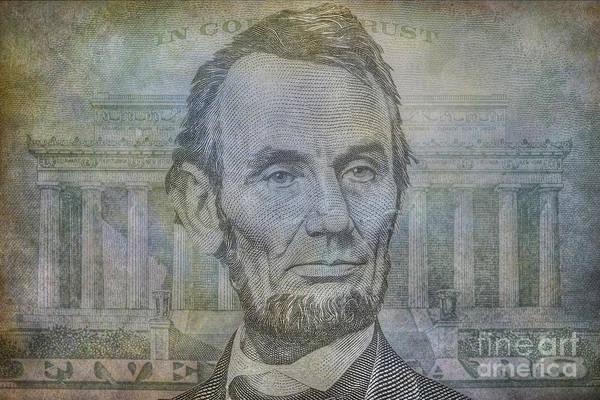 Wall Art - Digital Art - Lincoln On Five Dollar Bill by Randy Steele