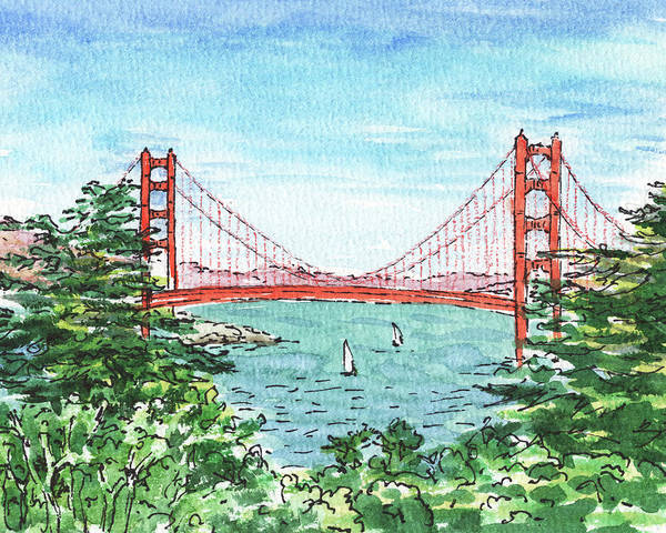 Wall Art - Painting - Lincoln Park Golf Course View Of Golden Gate Bridge by Irina Sztukowski