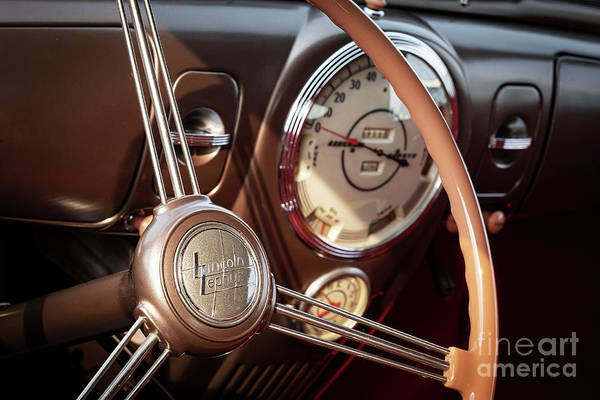 Wall Art - Photograph - Lincoln Zephyr Steering And Dash by Dennis Hedberg