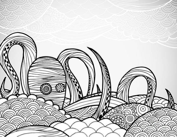 Pen And Ink Wall Art - Digital Art - Line Art Octopus In Textured Waves by Artplay