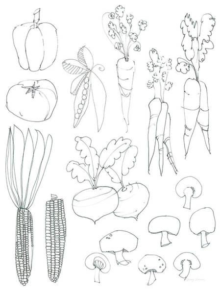 Carrot Painting - Line Art Veggies Crop by Avery Tillmon