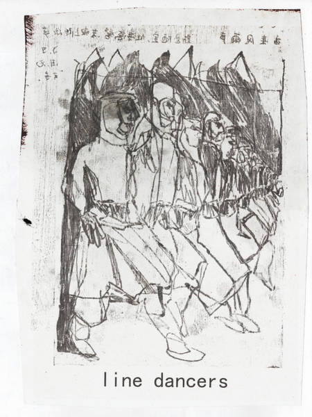 Mixed Media - Line Dancers by Artist Dot