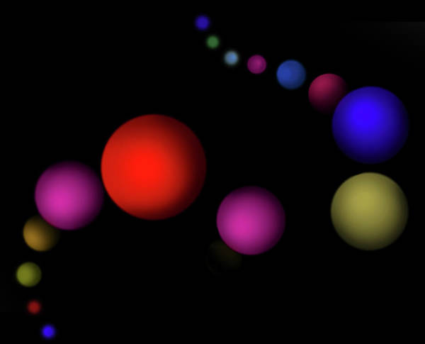 Wall Art - Photograph - Line Of Multi Colored Floating Spheres by Ikon Images