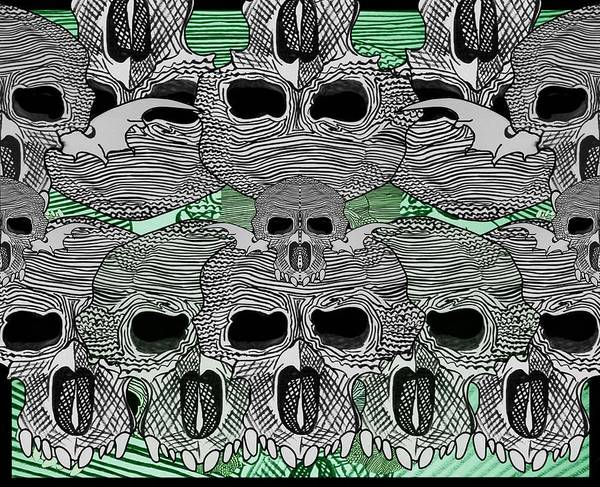 Wall Art - Drawing - Line Skulls Collage by Joan Stratton