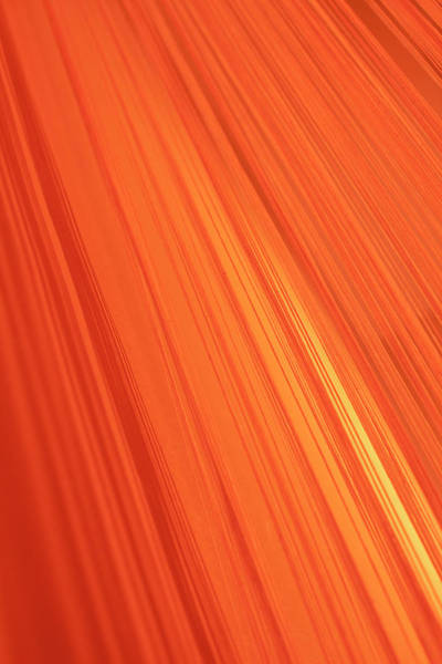 Vertical Abstract Photograph - Lined Gradient Of Orange by Ralf Hiemisch