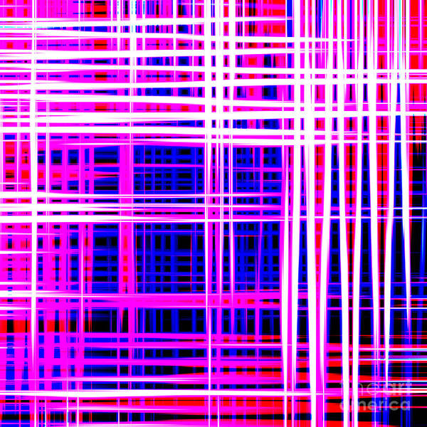 lines and squares in purple Color Waves - PL414 Art Print