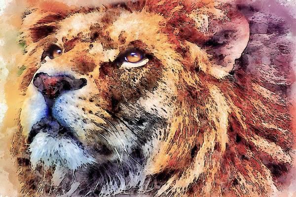 Wall Art - Digital Art - Lion #1 by ArtMarketJapan