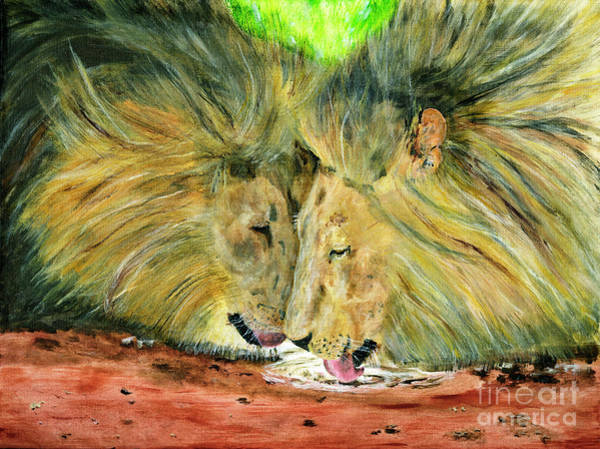 Wall Art - Painting - Lion Brothers Painting by Timothy Hacker