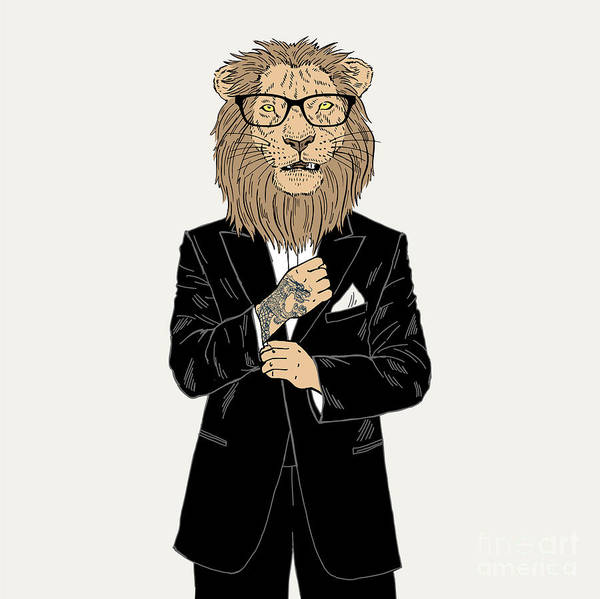 Wall Art - Digital Art - Lion Dressed Up In Tuxedo With Tattoo by Olga angelloz
