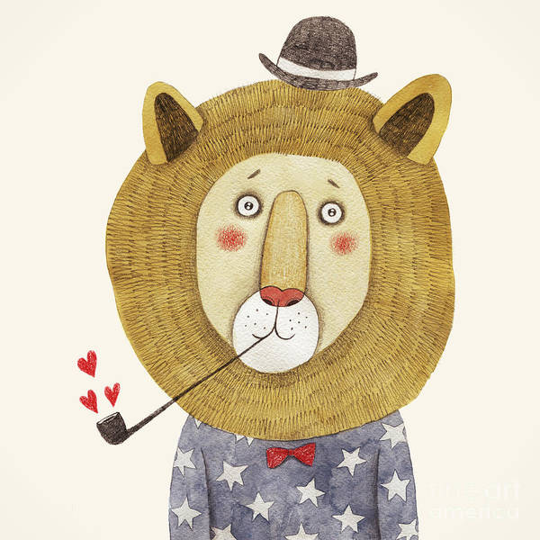Big Cat Wall Art - Digital Art - Lion In Hat And With A Pipe Drawing by Lenaer
