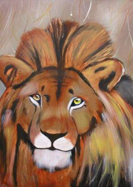 Painting - Lion by Jim Lesher