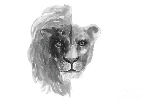 Zodiac Wall Art - Painting - Lion Lioness Zodiac Drawing Grey Illustration by Joanna Szmerdt