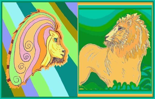 Drawing - Lion Pair Cool by Julia Woodman