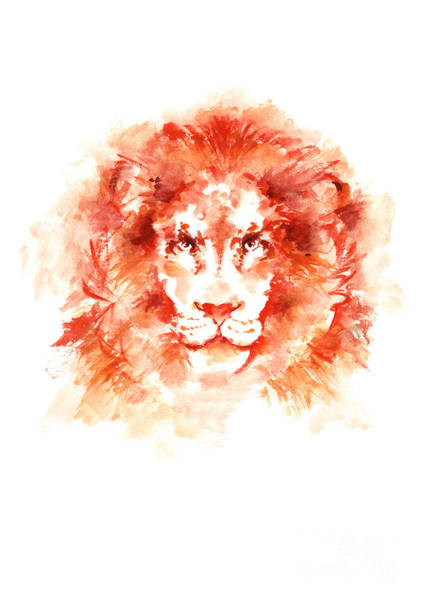 Wall Art - Painting - Lion Watercolor Poster Colorful Wild Cat Modern Home Decor by Joanna Szmerdt