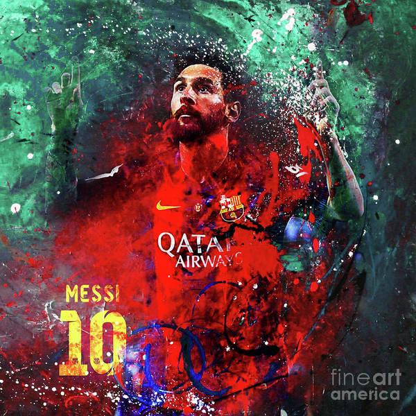 Wall Art - Painting - Lionel Messi In Barcelona Kit by Gull G
