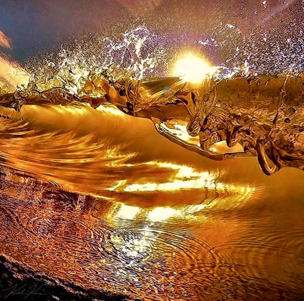 Riffle Digital Art - Liquid Gold by Keith Kos