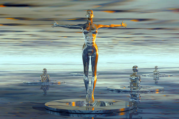 Wall Art - Digital Art - Liquid Metal Forms In To Robots That Flow Out Birth Tubes. Illustration Science Fiction - Illustrati by Caids Ados
