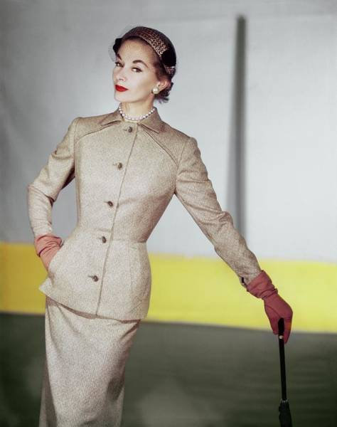 Wall Art - Photograph - Lisa Fonssagrives Wearing A Vogue Patterns Suit by Horst P. Horst