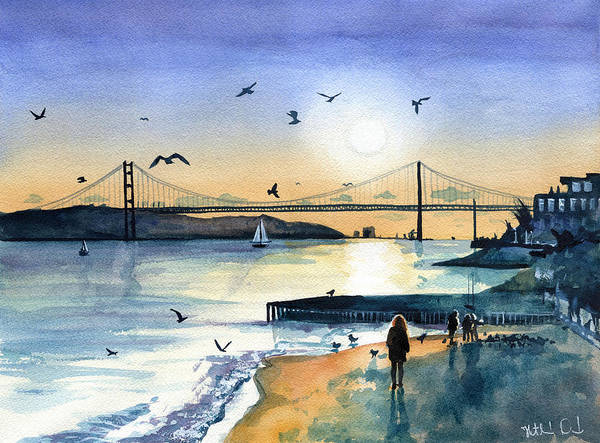 Painting - Lisbon 25 Abril Bridge At Dusk by Dora Hathazi Mendes