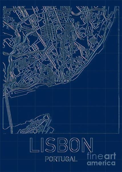 Digital Art - Lisbon Blueprint City Map by Helge