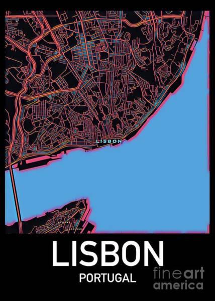 Digital Art - Lisbon City Map by Helge