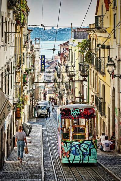 Photograph - Lisbon Funicular Tram - Portugal by Stuart Litoff