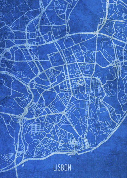 Wall Art - Mixed Media - Lisbon Portugal City Street Map Blueprints by Design Turnpike
