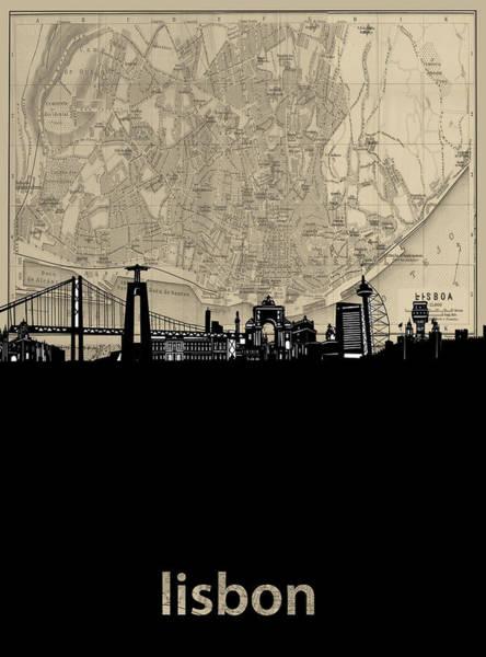 Lisbon Digital Art - Lisbon Skyline Map by Bekim M