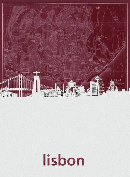 Lisbon Digital Art - Lisbon Skyline Map Red by Bekim M