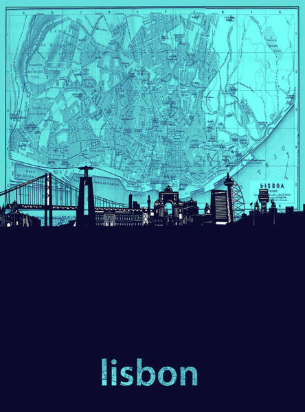 Lisbon Digital Art - Lisbon Skyline Map Turquoise by Bekim M
