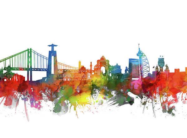 Lisbon Digital Art - Lisbon Skyline Watercolor 2 by Bekim M