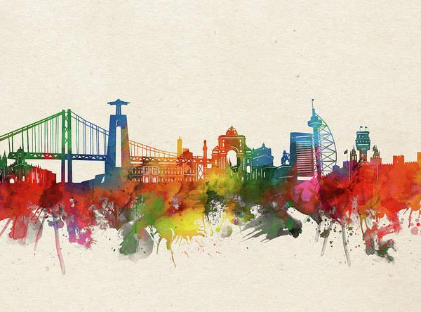 Lisbon Digital Art - Lisbon Skyline Watercolor by Bekim M