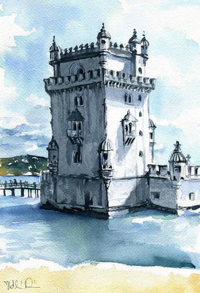 Painting - Lisbon Torre De Belem In Portugal by Dora Hathazi Mendes