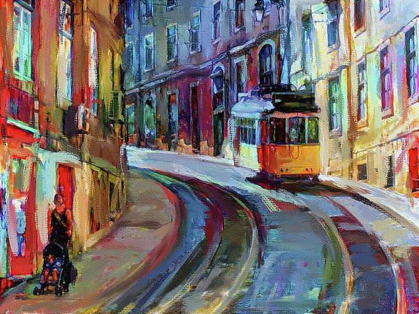 Lisbon Digital Art - Lisbon Tram 6 by Yury Malkov