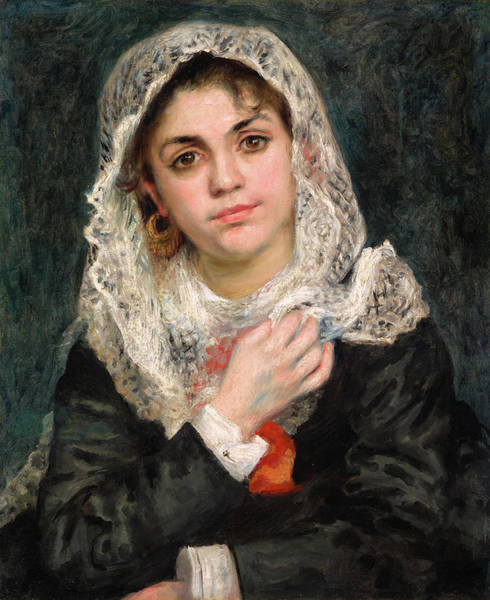 Wall Art - Painting - Lise In A White Shawl by Pierre-Auguste Renoir