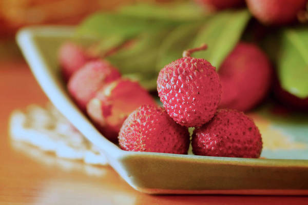 Tray Photograph - Litchis by Ss's Glass-light-hues Photography