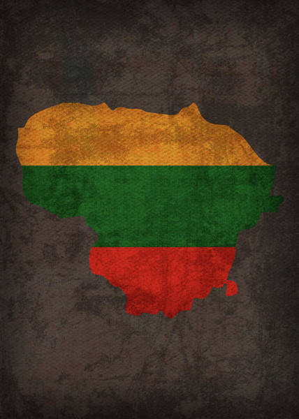 Lithuania Country Flag Map Art Print