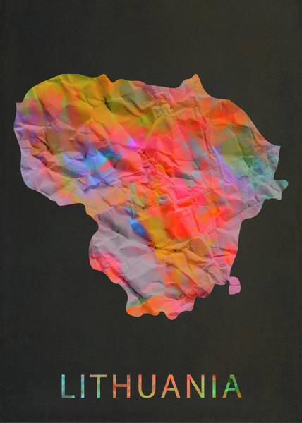 Lithuania Tie Dye Country Map Art Print