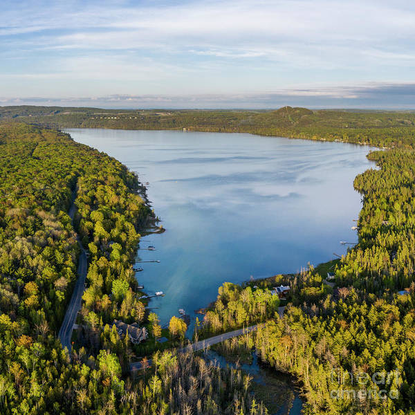 Wall Art - Photograph - Litte Traverse Lake Aerial Square by Twenty Two North Photography