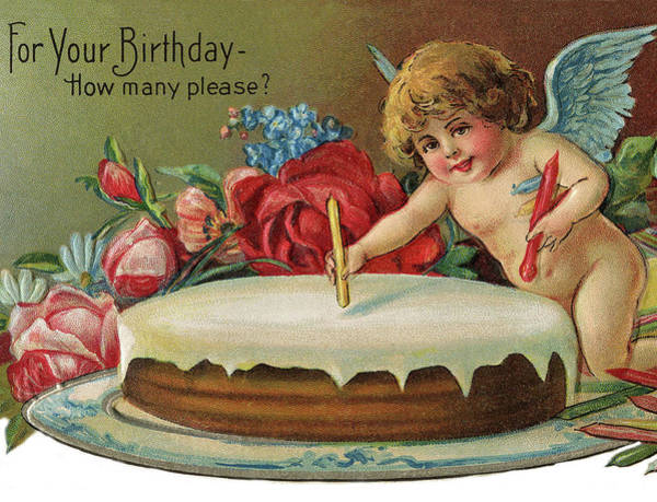 Birthday Party Digital Art - Little Angel With Birthday Cake by Long Shot