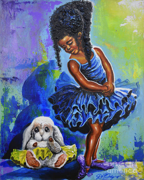 Rabit Painting - Little Ballerina In Training by The Art of DionJa'Y