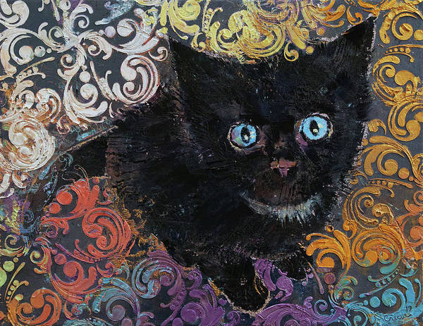 Wall Art - Painting - Little Black Kitten by Michael Creese