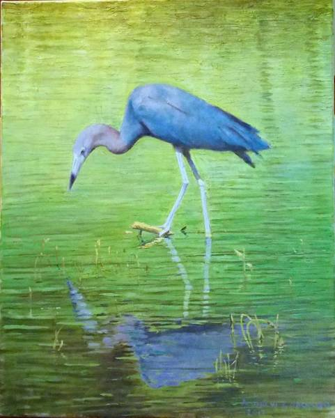 Andrew Jackson Wall Art - Painting - Little Blue Heron by Andrew Jackson