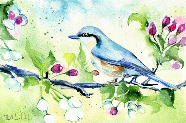 Painting - Little Blue Spring Bird by Dora Hathazi Mendes