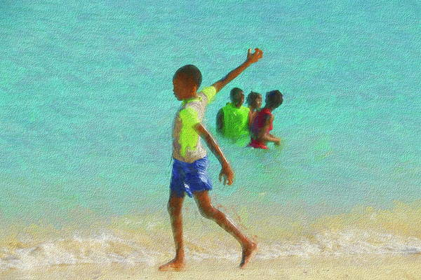 Photograph - Little Boy At The Beach At Rendezvous Bay In Anguilla by Ola Allen