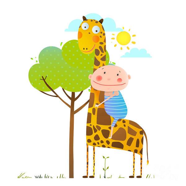 Friends Wall Art - Digital Art - Little Boy Hugging A Giraffe Childish by Popmarleo